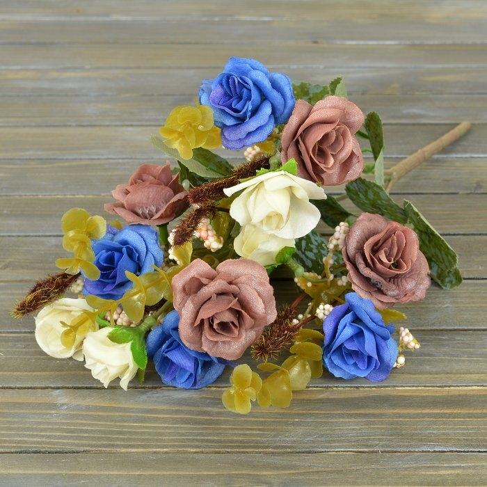 Букет роза биколор - синяя
