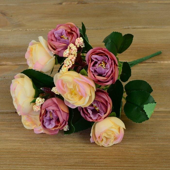 Букет розочки Остина - крем+лиловая